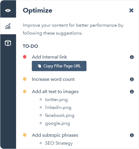 Easily link to your pillar pages with the content editor's optimize tab